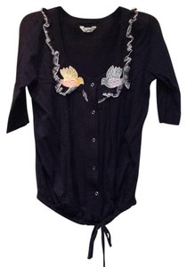 Rebel Yell Cotton Snaps Tie 3/4 Sleeve Ruffle Button Down Shirt Blue