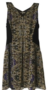 Madewell short dress purple, yellow, black Floral Silk on Tradesy