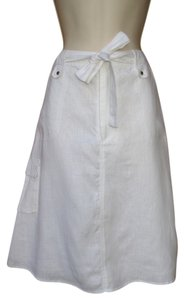 Carole Little Linen A-line Cargo Skirt White