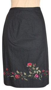 Amanda Smith Peasant Embroidered Skirt BLACK