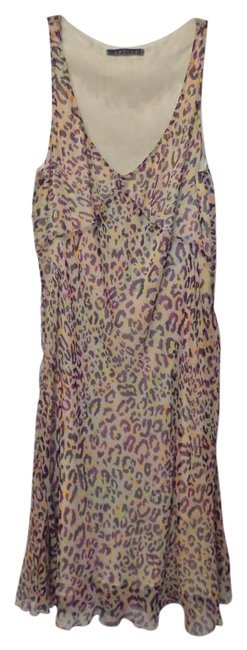 Item - Off-white with Purple Orange Lime and Yellow Velvet Chiffon Silk Bright Cheetah Print Mid-length Cocktail Dress Size 6 (S)