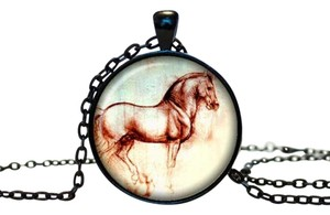 Other Black Enamel Stainless Glass Horse Pendant Necklace Free Shipping