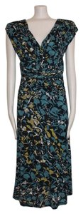 Anthropologie short dress MULTI COLOR Ruched Print Mid Length Stretc V Neck on Tradesy