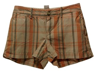 Old Navy Mini/Short Shorts orange and gray plaid