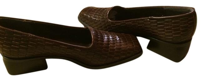 Item - Brown Leather Weave Heeled Sz. Flats Size US 6.5