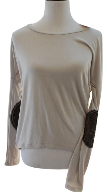 Item - Grey with Black Embellishment Long-sleeve Patch Sleeves Blouse Size 6 (S)