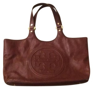Tory Burch Bombe Glazed Leather Tote Tote in Brown