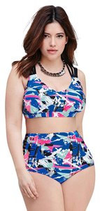 Forever 21 Forever 21 Plus Splattered Cutout High Waisted Bikini Top Bottom Set XL