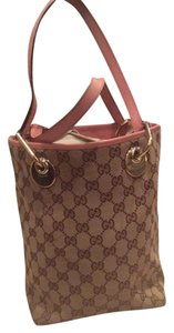 Gucci Tote in Traditional Brown Gucci Fabric with pink leather trim