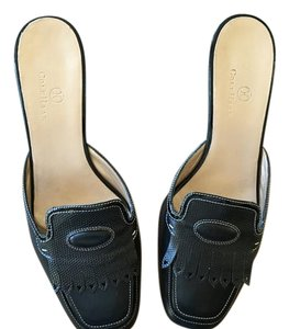 Cole Haan Leather Comfort-sole Kitten-heel Box Black Mules