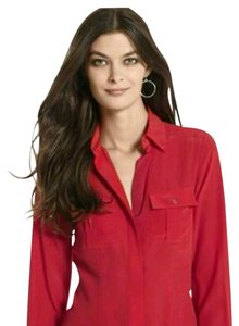 White House | Black Market #silktop #silk #whbm #redtop #redshirt Button Down Shirt