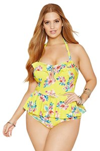 Forever 21 Forever 21+ Plus Yellow Halter Ruffled Floral One-Piece Swimsuit 1X