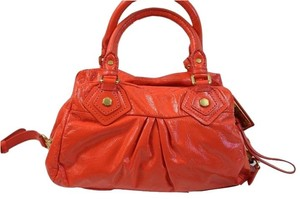 Marc by Marc Jacobs Classic Q Groovee Patent Leather Satchel in Vibrant Red (Orange)