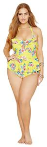 Forever 21 Forever 21+ Plus Yellow Halter Ruffled Floral One-Piece Swimsuit 2X