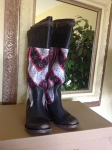 FreeBird Black Leather Textile Black/Red Boots