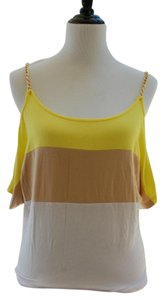 bebe Top Yellow, White, Brown