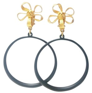 Chanel Chanel Gold Plated Ribbon Flower Large Black Hoop Clip on Earrings