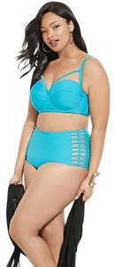 Forever 21 2016 Forever 21 Plus Turquoise Bralette Bikini Strap Top High Waisted Set XL
