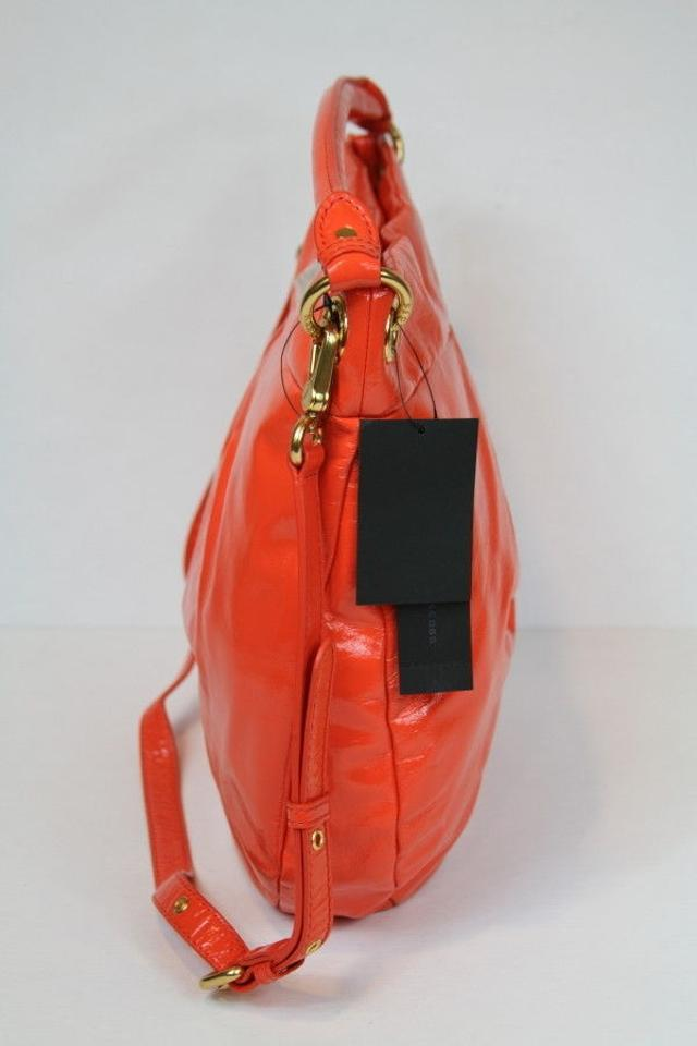 Marc By Jacobs Classic Q Hillier Vibrant Red Orange Crinkle Patent Leather Hobo Bag Tradesy