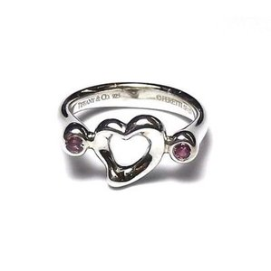 Tiffany & Co. size 3.75, sterling silver, pink sapphire, open heart, sweetheart ring