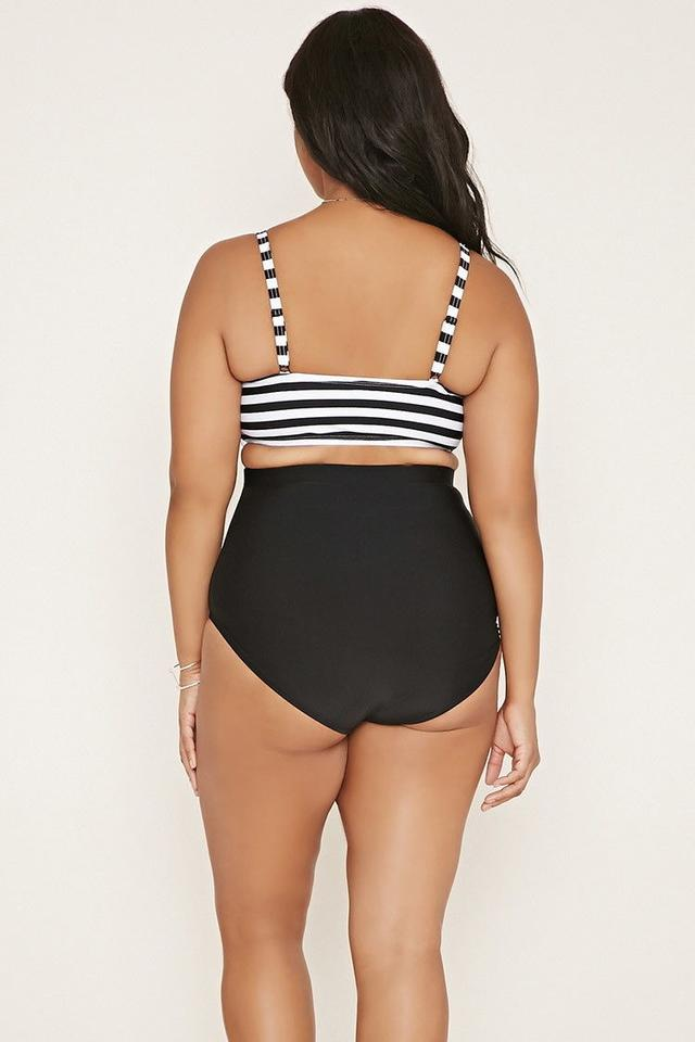 e9772be561c86 Forever 21 2016 Forever 21 Plus Size Black White Striped One-Piece Swimsuit  XL Image. 12345