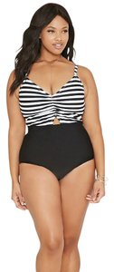 Forever 21 2016 Forever 21 Plus Size Black White Striped One-Piece Swimsuit XL
