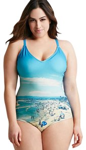 Forever 21 Forever 21 Plus Size Beach Scene One-Piece Swimsuit 1X