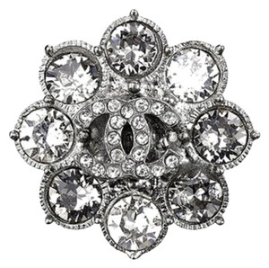 Chanel CHANEL Ring Sz 6 Metal Ring Paved with Crystal Strass and CC Signature. Made in Italy. #0042
