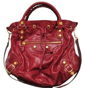 Balenciaga Studded Leather Satchel in Pourpre