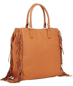 Barneys New York Fringe Hobo Boho Tote in Cognac