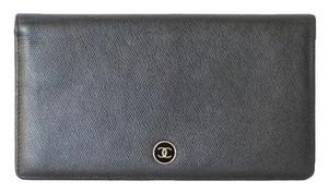 Chanel Calfskin Leather Textured Bi-Fold Clutch Wallet