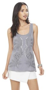 Express Metallic Embroidered Embellished Top gray