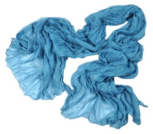 Other Long Soft Wrap Scarf Crinkle Voile Lake Blue (#6)