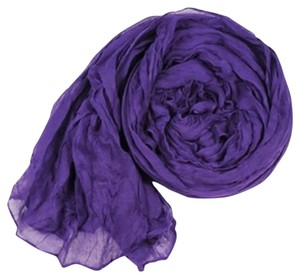 Other Long Soft Wrap Scarf Crinkle Voile Purple (#7)