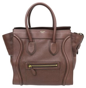 Céline Celine Micro Luggage Tote in Chocolate