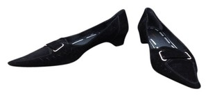 Delman Pointed Black Flats