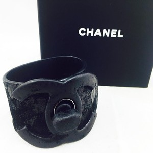Chanel Chanel Black Suede Leather CC Lock Logo Wrap Bracelet One Of A Kind Piece!!