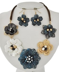 Tri-tone Patina / Brown Suede Necklace & Earrings