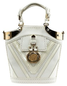 Versace Bucket Leather Patent Tote in White & Cream