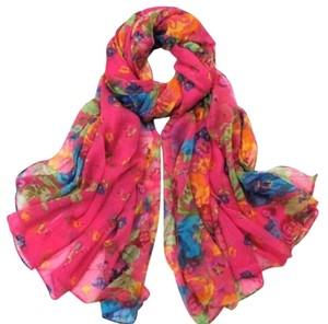Soft Cotton Rose Red Floral Scarf (#14)
