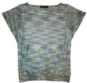 The Limited Zig-zag Lightweight Loose Top Teal, Blue, Gold, Beige