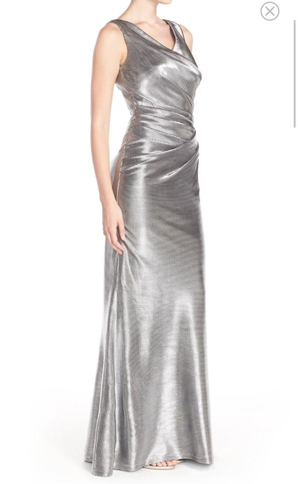 Vince Camuto Silver Metallic Gown Long Formal Dress Size 6 (S) - Tradesy