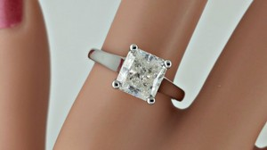 2.12 Ct Radiant Diamond Solitaire Engagement Ring 14 K White Gold (watch Video In Listing Below)