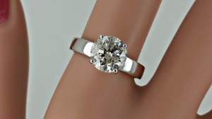 2.03 Ct Round Diamond Solitaire Engagement Ring 14 K White Gold (watch Video In Listing Below)