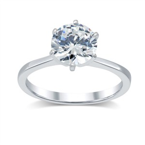 2.13 Ct Round Diamond Solitaire Engagement Ring 14 K White Gold (watch Video In Listing Below)