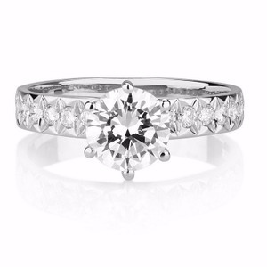 2.89 Ct F/si3 Round Diamond Solitaire Engagement Ring 14 K White Gold(watch Video In Listing Below)