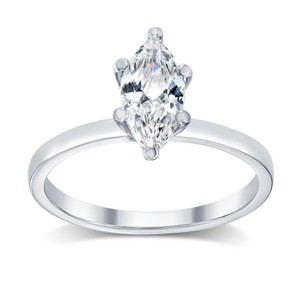 1.28 Ct F/si3 Marquise Diamond Solitaire Engagement Ring 14 K White Gold(watch Video In Listing Below)