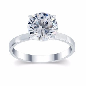 2.22 Ct G/si3 Round Diamond Solitaire Engagement Ring 14 K White Gold