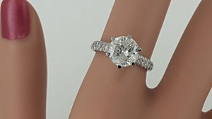 2.44 Ct D/si2 Round Diamond Solitaire Engagement Ring 14 K White Gold