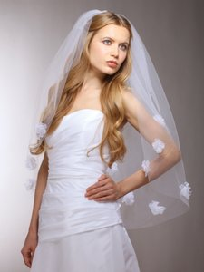 Chiffon Flowers Couture Bridal Veil